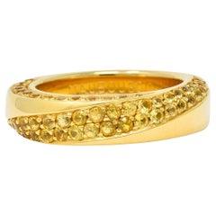 Mauboussin Paris 1.75 Carat Yellow Sapphire 18 Karat Gold Serpentine Band Ring