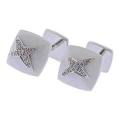 Mauboussin Paris 18k Gold Diamond White Onyx Star Cufflinks