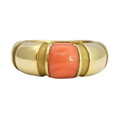 Mauboussin Paris 18k Yellow Gold & Coral Nadja Ring Vintage Rare