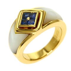 Mauboussin Paris 18k Yellow Gold, Mother of Pearl & Sapphire Ring Vintage