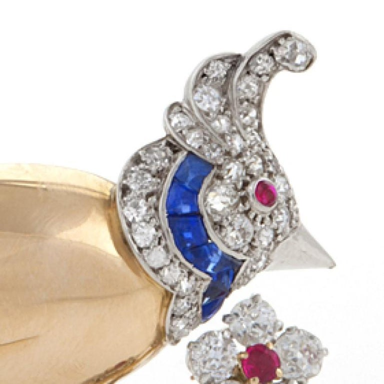 Women's Mauboussin Paris 1950s Diamond Ruby Sapphire and Gold Bird Brooch For Sale