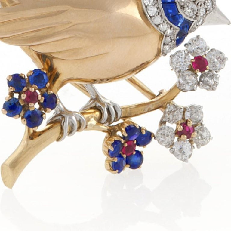 Mauboussin Paris 1950s Diamond Ruby Sapphire and Gold Bird Brooch For Sale 2