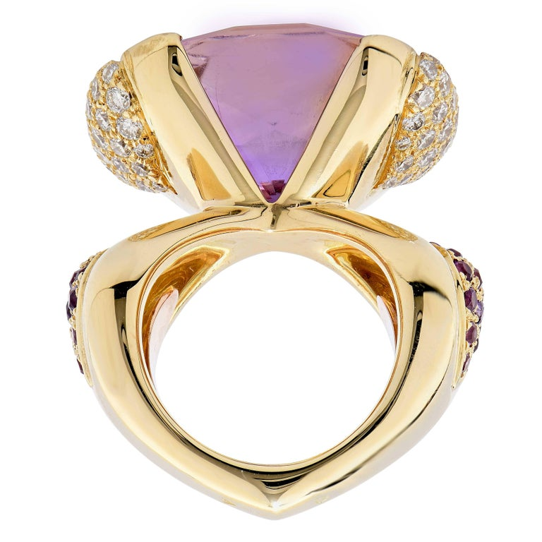 Modern Mauboussin Paris 20 Carat Amethyst and Diamond Ring For Sale