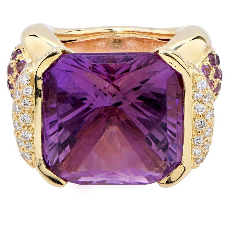 Cushion Cut Mauboussin Paris 20 Carat Amethyst and Diamond Ring For Sale