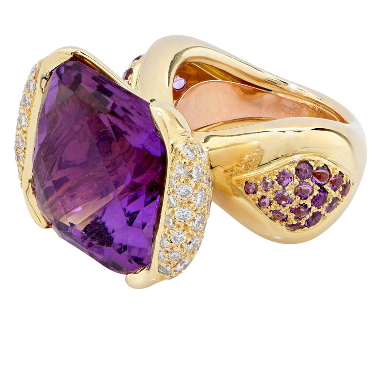 Women's Mauboussin Paris 20 Carat Amethyst and Diamond Ring For Sale