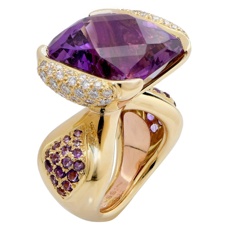Mauboussin Paris 20 Carat Amethyst and Diamond Ring For Sale