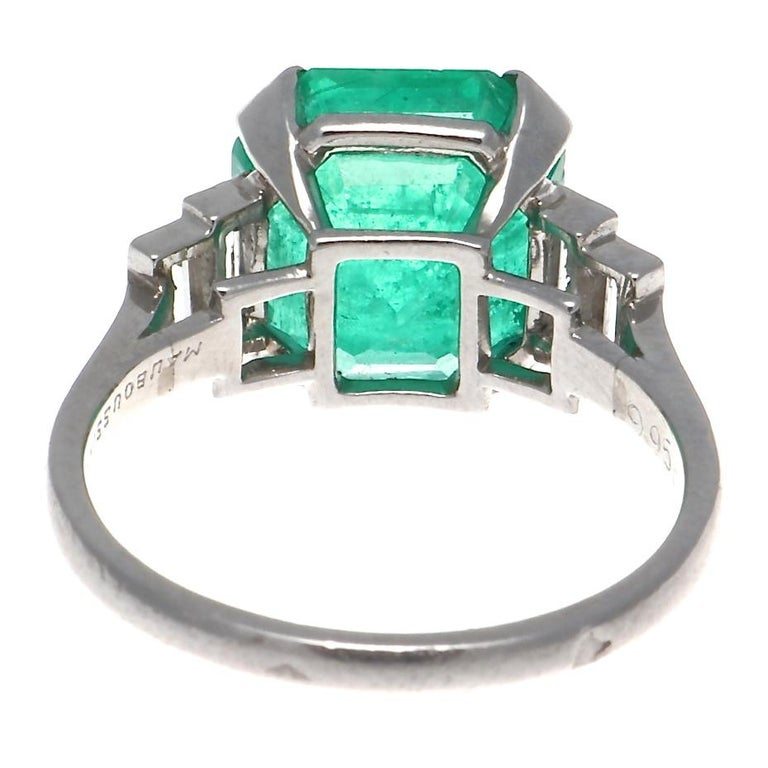 Mauboussin Paris Art Deco 4.5 Carat AGL Certified Emerald Diamond Platinum Ring In Excellent Condition For Sale In Beverly Hills, CA