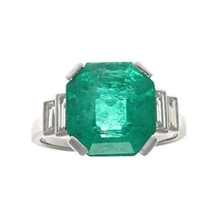 Mauboussin Paris Art Deco 4.5 Carat AGL Certified Emerald Diamond Platinum Ring