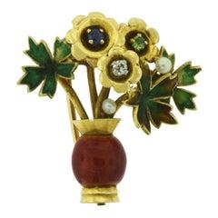 Mauboussin Paris Basket of Flowers Multi Gem Stone Brooch