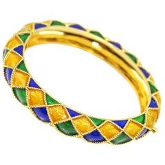 Mauboussin Paris Blue Yellow Green Enamel 18 Karat Yellow Gold Bangle Bracelet