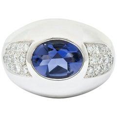 Mauboussin Paris Contemporary Iolite Diamond 18 Karat White Gold Aloha Band Ring