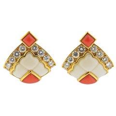 Mauboussin Paris Coral Diamond Gold Earrings