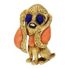 Mauboussin Paris Coral Lapis Onyx Dog Brooch
