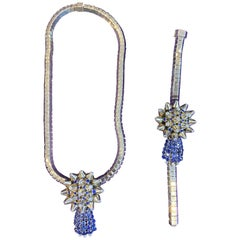 Mauboussin Paris Diamond and Sapphire Necklace and Bracelet Set