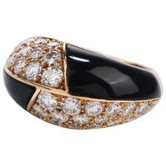 Mauboussin Paris Diamond Onyx 18 Karat Gold Cocktail Ring