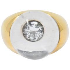 French Mauboussin Paris Diamond Rock Crystal 18 Karat Gold Orb Ring