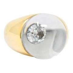 Mauboussin Paris Diamond Rock Crystal 18 Karat Yellow Gold Orb Ring