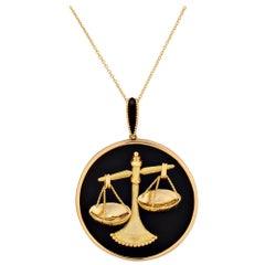 Mauboussin Paris Libra Zodiac Gold Onyx Vintage Pendant Necklace