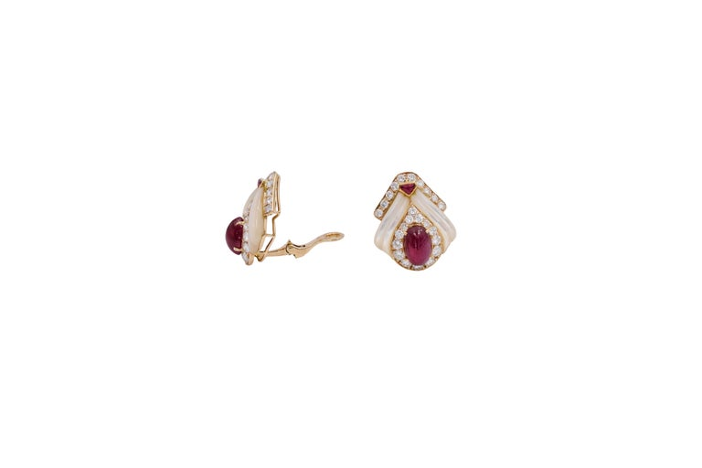 Mauboussin Paris Ruby, Mother of Pearl and Diamond Ear Clips For Sale 4