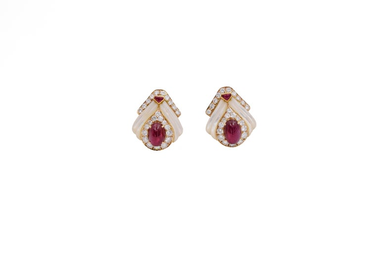 Mauboussin Paris Ruby, Mother of Pearl and Diamond Ear Clips For Sale 5