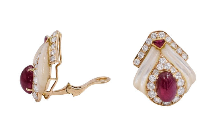 Artist Mauboussin Paris Ruby, Mother of Pearl and Diamond Ear Clips For Sale