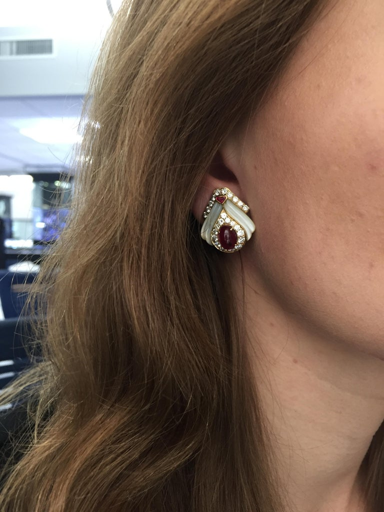 Round Cut Mauboussin Paris Ruby, Mother of Pearl and Diamond Ear Clips For Sale