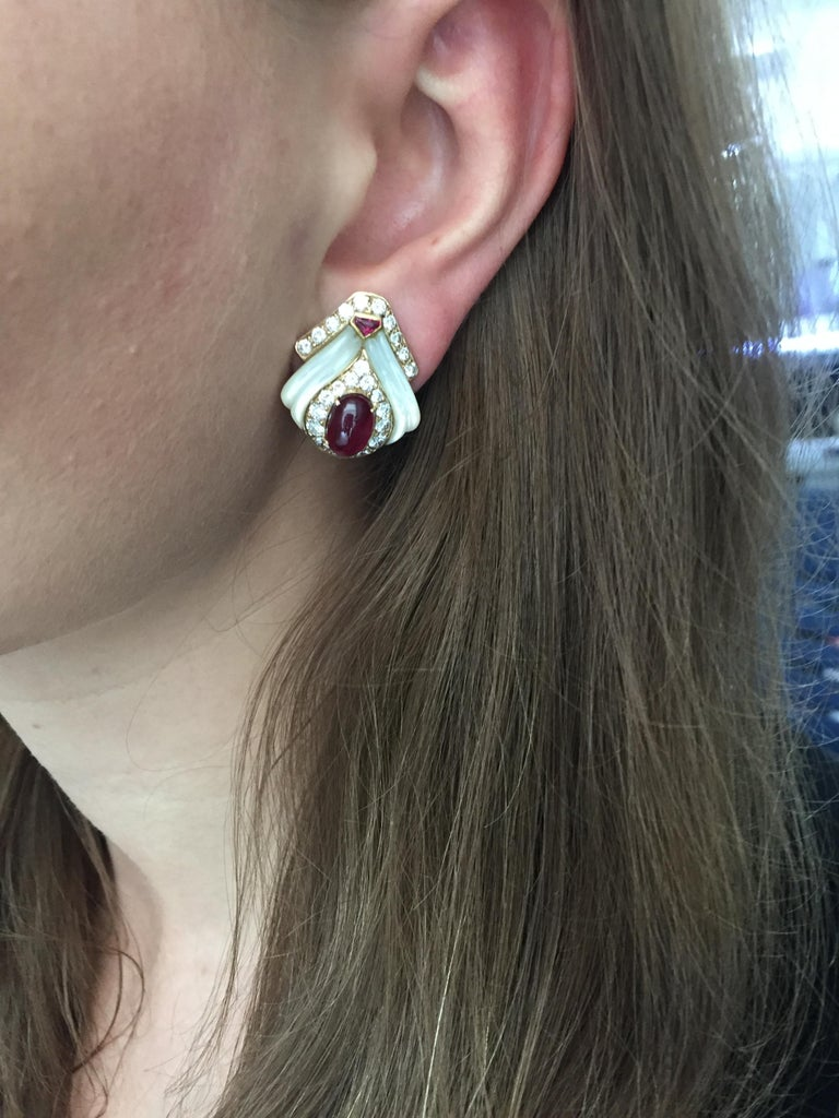 Mauboussin Paris Ruby, Mother of Pearl and Diamond Ear Clips In Excellent Condition For Sale In New York, NY
