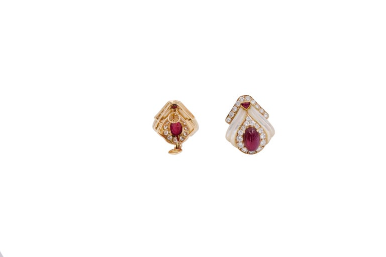 Mauboussin Paris Ruby, Mother of Pearl and Diamond Ear Clips For Sale 2