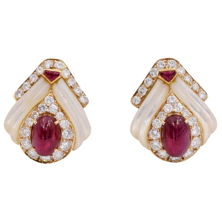 Mauboussin Paris Ruby, Mother of Pearl and Diamond Ear Clips For Sale