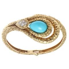 Mauboussin Paris Turquoise Diamond 18 Karat Snake Motif Bracelet