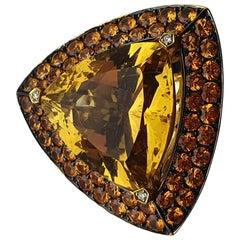 Mauboussin, Peace Colors Citrine 11 Carat, 3.6 Carat Sapphires and Diamonds Ring