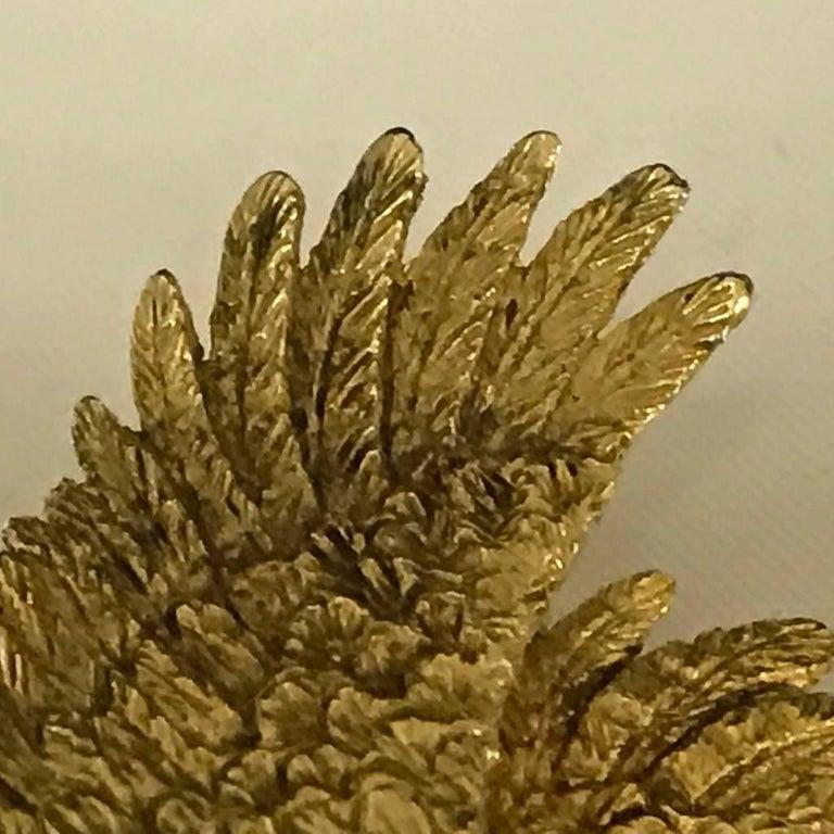 Women's Mauboussin Pheasant Brooch Yellow Gold 18 Carat and Diamond Eye Pin For Sale
