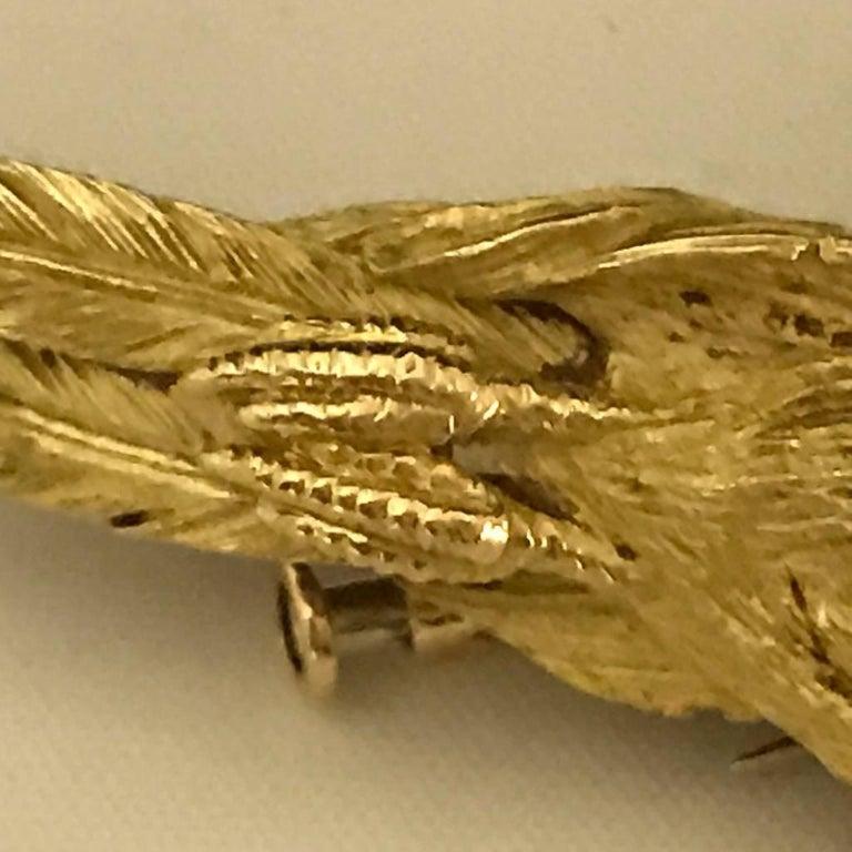 Mauboussin Pheasant Brooch Yellow Gold 18 Carat and Diamond Eye Pin For Sale 4