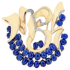 Mauboussin Reflection Collection 29 Sapphire Cabochon and Diamonds Brooch