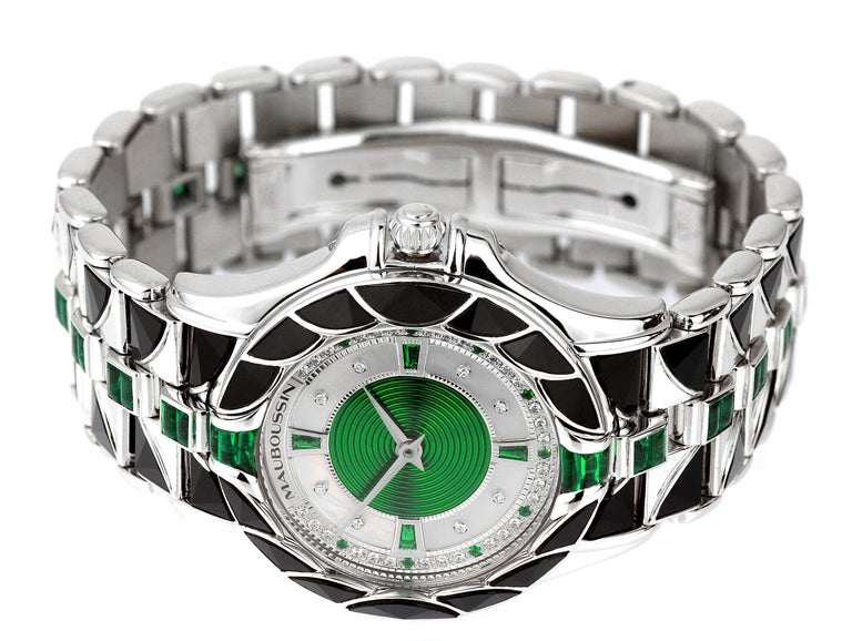Women's or Men's Mauboussin, Retro, Diamond and Emerald Watch in 18 Carat White Gold, Automatic For Sale