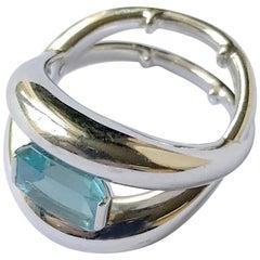 Mauboussin Ring in 18 Karat White Gold Setting an Aquamarine