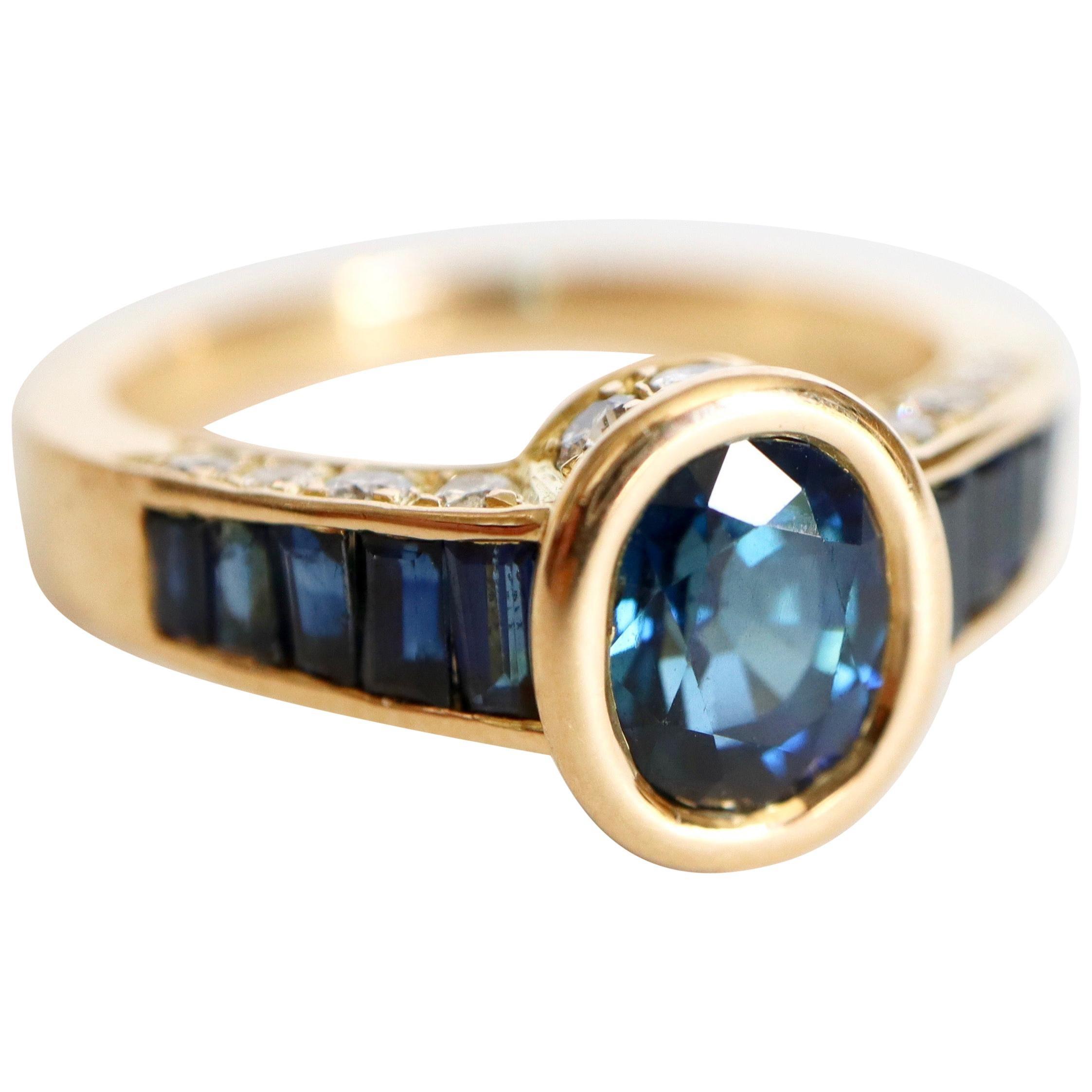Mauboussin Ring in 18 Karat Yellow Gold Sapphires and Diamonds