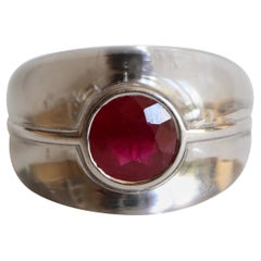 Mauboussin Ring in Rock Crystal and Ruby 3 Carat and 18 Carat White Gold