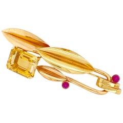 Mauboussin Ruby Citrine Stylized Pin