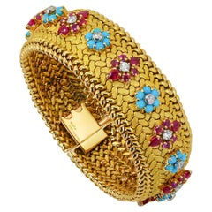 Mauboussin Diamond Ruby Turquoise Yellow Gold Bracelet