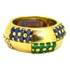 Mauboussin Sapphire Emerald Diamond Yellow Gold Large Band Ring
