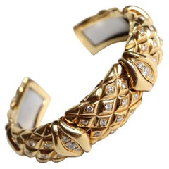 Mauboussin Semi-Rigid Bracelet in 18 Kt Yellow Gold and Diamonds