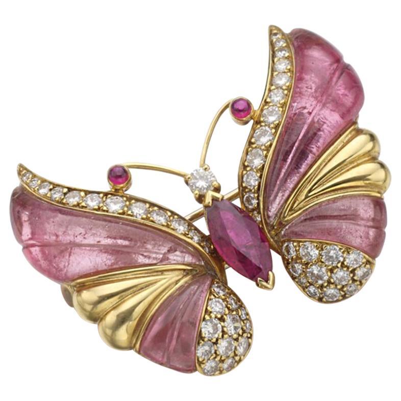 Mauboussin Tourmaline, Rubellite, and Diamond Butterfly Brooch