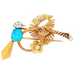 Mauboussin Turquoise and Diamond Bird Brooch, 1960s
