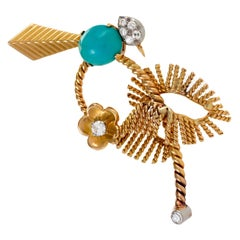 Mauboussin Turquoise and Diamond Exotic Bird Brooch
