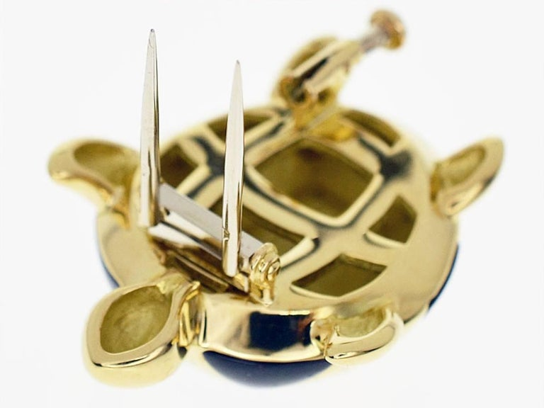 Mauboussin 18 Karat Yellow Gold Turtle Brooch Black Shell In Good Condition For Sale In Tokyo, JP