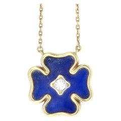 Mauboussin Vintage 18 Karat Gold, Lapis and Diamond Clover Pendant Necklace 9g