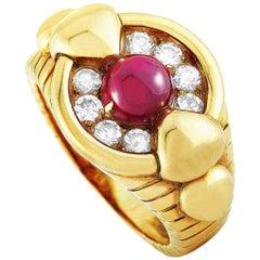 Mauboussin Vintage 18 Karat Yellow Gold 0.50 Carat Diamond and Ruby Ring