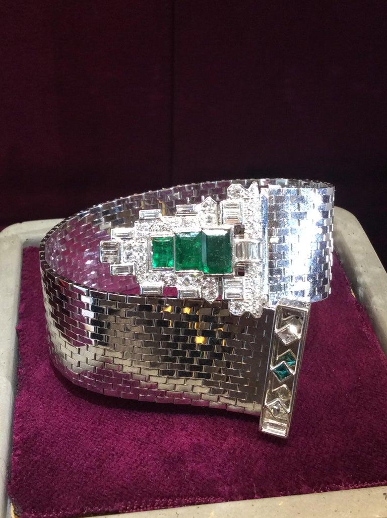 Women's Trabert & Hoeffer Mauboussin White Gold Bracelet Detachable Emerald-Diamond Clip For Sale