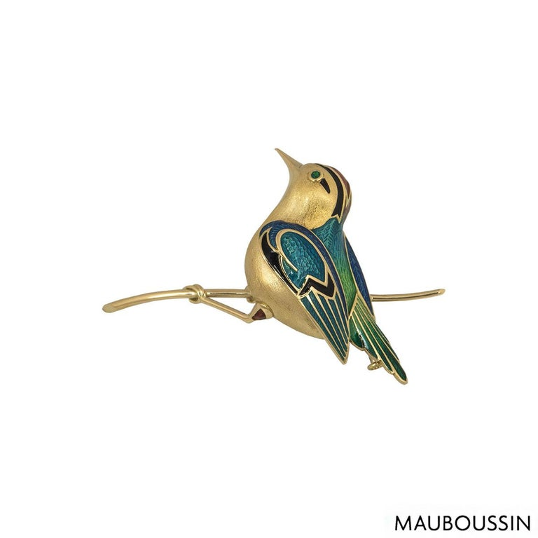 Mauboussin Yellow Gold Enamel Bird Brooch In Excellent Condition For Sale In London, GB
